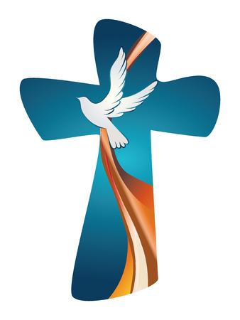 Croce con colomba su sfondo blu Vettoriali