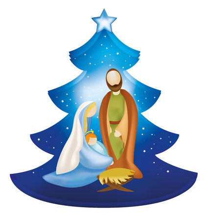 Na białym tle szopka choinka z Jezusem i Dzieciątkiem Jezus w ramionach Maryi