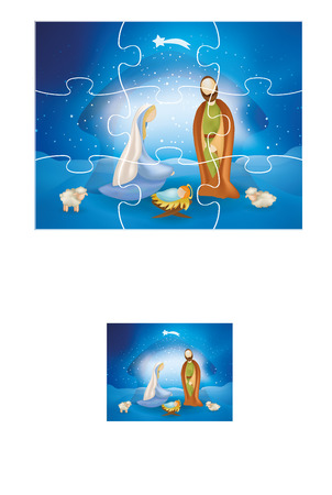 Christmas vector puzzle with Christmas nativity scene