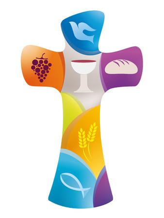 Croce cristiana con colomba, uva, calice, pane, spighe di grano e pesce su sfondo colorato
