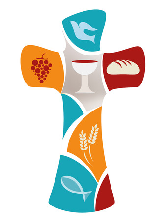 Christian cross with dove, grape, chalice, bread, ears of wheat and fish on colorful background