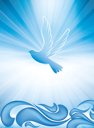 Christian baptism symbol with waves and blue sky 일러스트