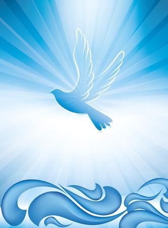 Símbolo del bautismo cristiano con olas y cielo azul