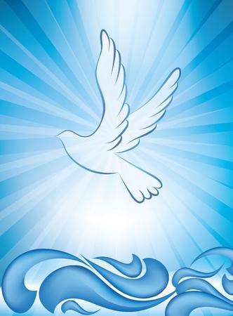 Invitation de baptême chrétien - carte de voeux de baptême avec des vagues sur fond bleu Vecteurs