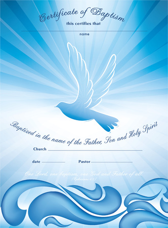 Certificate baptism template. With waves of water and where multiple exposure Banque d'images - 103873474