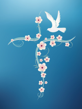 Christian baptism background with cross flowers and dove