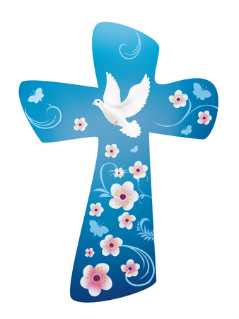 Christian cross with dove - flowers and butterfly on blue background