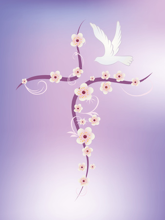 Christian cross with flowers and where on pink and lilac background Çizim