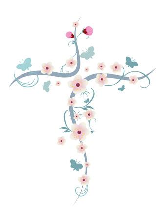 Croce cristiana isolata con fiori e farfalle Vettoriali