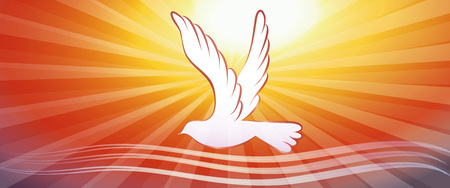 Concepto de banner web bautismo cristiano con ondas de agua y donde en el fondo del atardecer Ilustración de vector