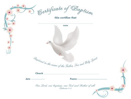 Certificate baptism template with floral background Çizim