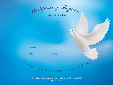 Certificate baptism template with dove on blue background Banco de Imagens - 103873887