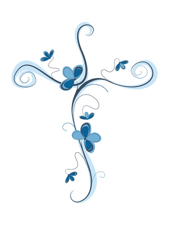 Isolated vector blue Christian cross with flowers. Religion sign