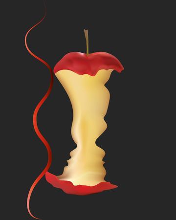 Adam et Eve avec un serpent et une pomme mordue. Concept de péché original sur fond noir
