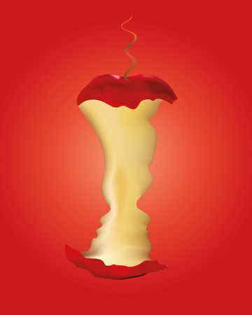 Original sin concept - Adam and Eve with apple and snake on red background