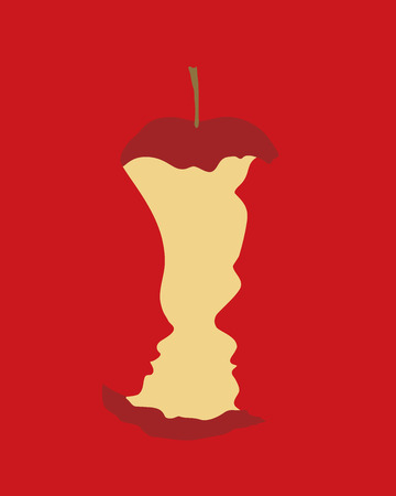 Original sin concept - Adam and Eve with bitten apple on red background  イラスト・ベクター素材