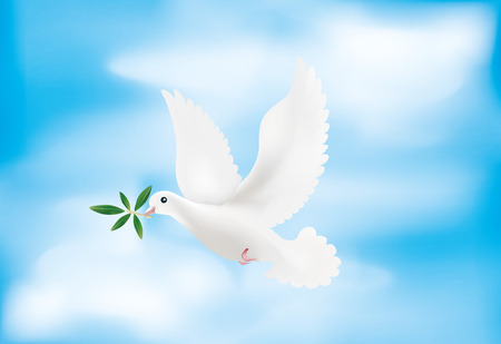 3d illustration with olive branch and sky. Symbol of peace