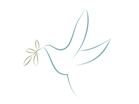 Vector dove with olive leaves. Symbol of peace