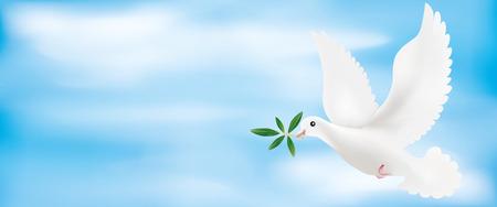 Web banner 3d illustration with olive branch and sky Illustration