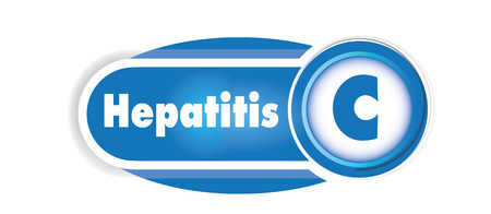 Hepatitis C isolated concept. Blue curves background Stock fotó