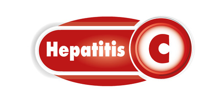 Hepatitis C isolated concept. Red curves background