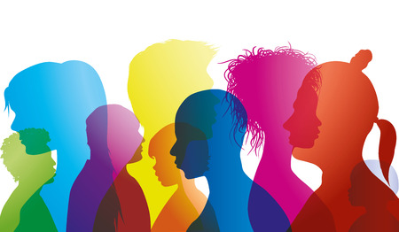 Silhouette profiles of multiracial people of different ages. Group of people different nationalities. Multiple exposure