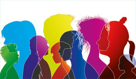 Vektorsilhouette von gemischtrassigen Menschen unterschiedlichen Alters. Gruppe von Menschen verschiedener Nationalitäten. Mehrfache Belichtung
