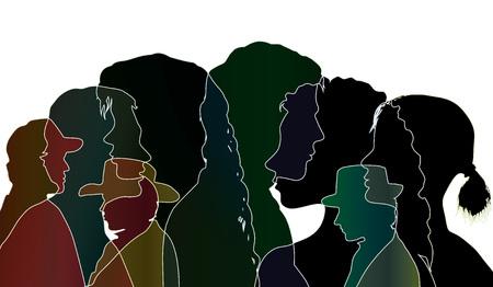Vector talking crowd. Dialogue between people. Silhouette black profiles. Multiple exposure vector