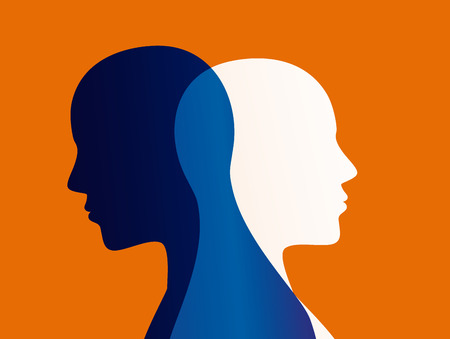 Disturbo dell'umore. Personalità divisa. Disturbo bipolare mente mentale. Concetto di doppia personalità. Archivio Fotografico