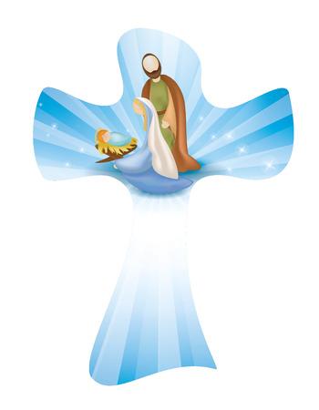 Isolated Christian cross whit vector nativity scene. Rays on blue background