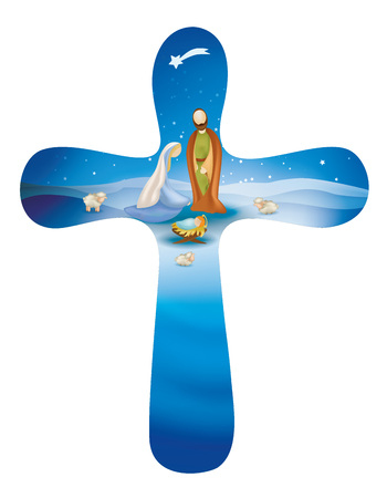 Isolated rounded christian cross whit nativity scene on blue background