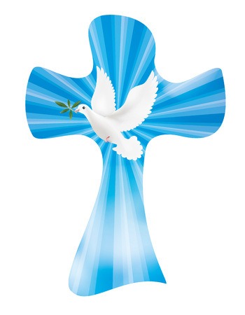 Vector christian cross with olives and bright leaves. Peace symbol