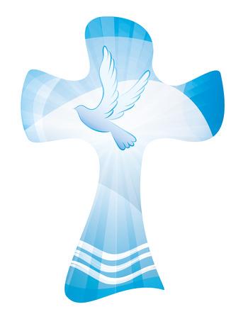 Battesimo croce cristiana - onde d'acqua e dove. Esposizione.multipla.Sfondo blu