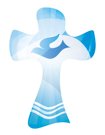 Christian cross baptism symbol with waves of water and where. Religious sign. Multiple.exposure