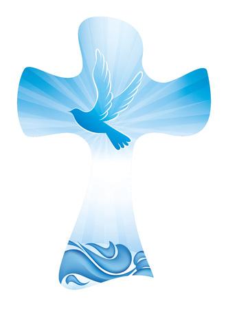 Símbolo del bautismo de la cruz cristiana con olas y cielo azul Ilustración de vector