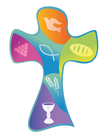 Colorful christian cross with chalice grapes and wheat bread ear Illustration