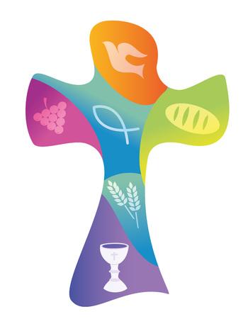 Cruz cristiana colorida con varios símbolos