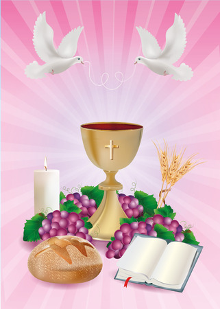 Christian symbols concept with golden bread bible grapes candle where ears of wheat on pink background