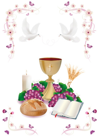 Isolated Christian symbols with golden chalice-bread-bible-grapes-candle-where-ears of wheat-pink ornaments flower and butterflies Stock Photo