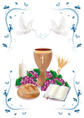 Isolated Christian symbols with wooden chalice-bread-bible-grapes-candle-where-wheat-blue ornaments flower and butterflies