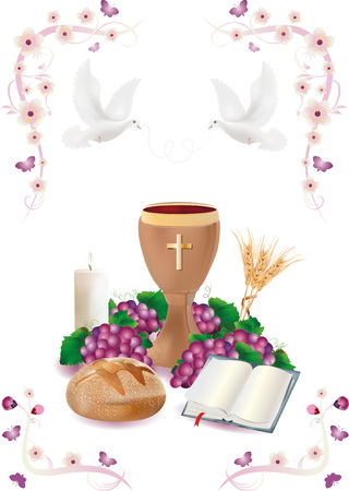 Isolated Christian symbols with wooden chalice-bread-bible-grapes-candle-where-ears of wheat-pink ornaments flower and butterflies Zdjęcie Seryjne