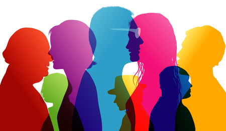 Talking crowd. Dialogue between people. Colored silhouette profiles.Comparison of people. Vector multiple exposure