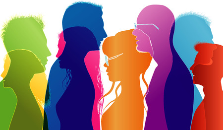 University students compared. Young people talking. Colored silhouette profiles. Vector multiple exposure