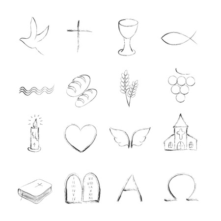 Isolated christian symboly outline icons 스톡 콘텐츠