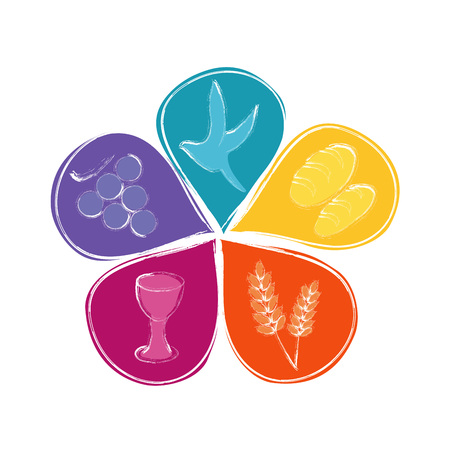 Isolated vector Christian symbols in colorful flower petals Çizim