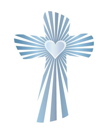 Cruz cristiana abstracta aislada con rayos y corazón Ilustración de vector