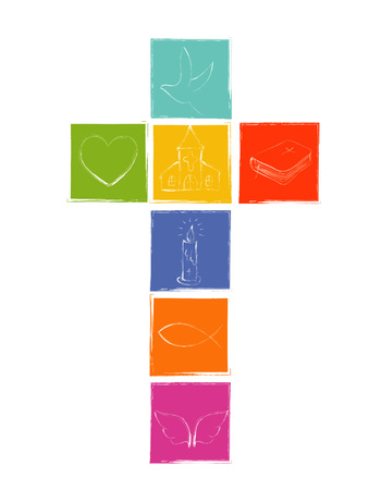 Isolated Christian cross with colored squares. Christian symbols. Religious illustration