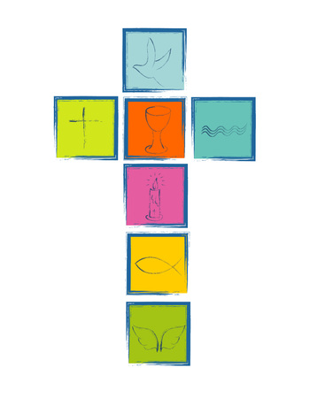 Isolated Christian cross with religious symbols. Cross with colorful squares Christian symbols