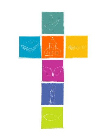 Isolated cross with Christian symbolism. White Christian symbols with squares in various bright colors. Religious sign Vectores