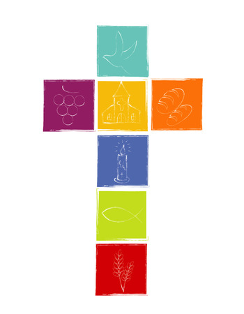 Isolated cross with white Christian symbols. Cross with colored squares. Religious sign